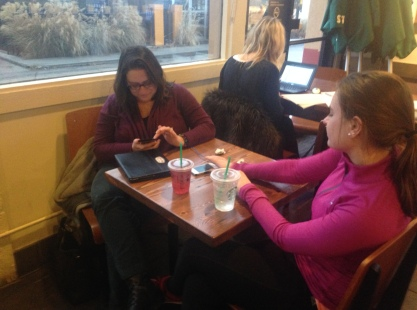 Two women in Starbucks.
