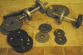 My mongrel set of dumbbell weights scrounged over the years.