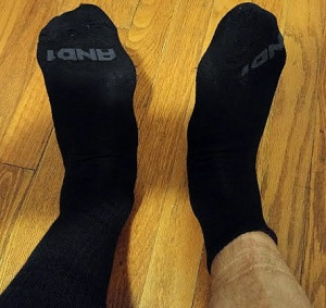My socks - all black all the time.